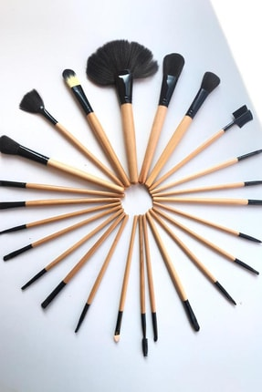 Gold Bambu Makyaj Fırça Seti - Profesyonel Çantalı 24 Parça 2170004102036 2