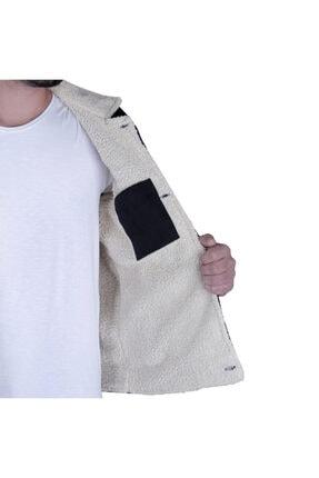Efeel Fur Jacket Kürklü Erkek Mont Siyah Kalın Gabardin Ceket Kalın Kürklü Regular Fit 2