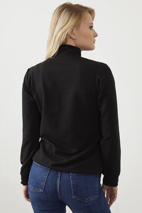 ELBİSENN Kadın Siyah Yaka Fermuar Detay Sweatshirt 4