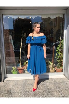 MACFLY Carmen Yaka Fırfır Elbise 3