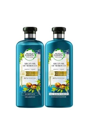 Herbal Essences Şampuan Onarıcı Fas Argan Yağı 400 Ml + Saç Bakım Kremi 360 Ml 1