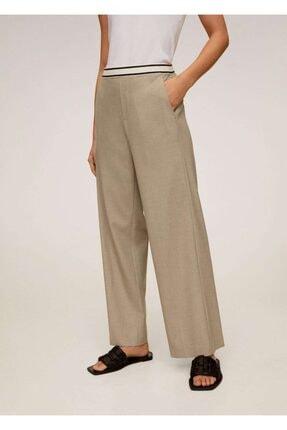 Mango Kadın Orta Kahverengi Beli Bağcıklı Düz Kesim Pantolon 67005131 1