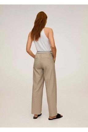 Mango Kadın Orta Kahverengi Beli Bağcıklı Düz Kesim Pantolon 67005131 2