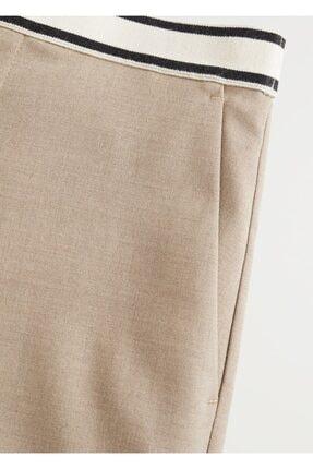 Mango Kadın Orta Kahverengi Beli Bağcıklı Düz Kesim Pantolon 67005131 4