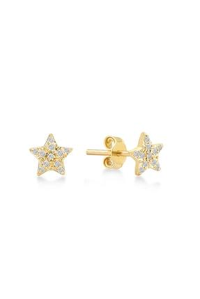 Gelin Pırlanta Kadın Altın 14 Ayar Pırlantalı Yıldız Küpe GLN300103 0
