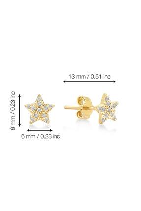 Gelin Pırlanta Kadın Altın 14 Ayar Pırlantalı Yıldız Küpe GLN300103 4