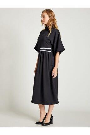 VKM Kadın Siyah Dik Yaka Rahat Kesim Elbise 1