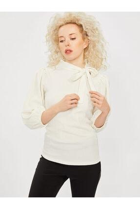 COOLSISTER Kadın Beyaz Yaka Bağlama Detaylı Bluz 0