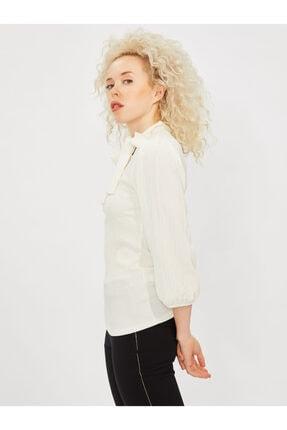COOLSISTER Kadın Beyaz Yaka Bağlama Detaylı Bluz 2