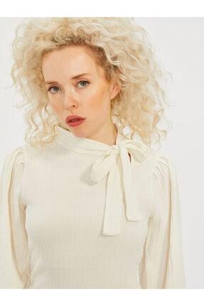 COOLSISTER Kadın Beyaz Yaka Bağlama Detaylı Bluz 3