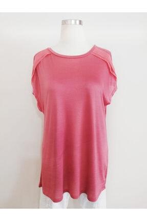 Vekem Kadın Pembe Sıfır Yaka Japone Kol Bluz 9107-0071 0