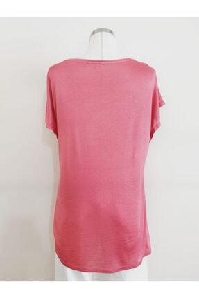 Vekem Kadın Pembe Sıfır Yaka Japone Kol Bluz 9107-0071 1