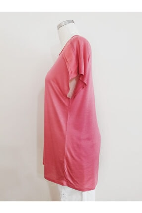 Vekem Kadın Pembe Sıfır Yaka Japone Kol Bluz 9107-0071 2