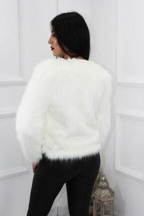 UGİMPOL Kadın Beyaz Kısa Kürk Ceket 4