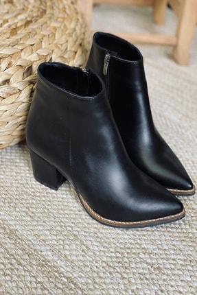 Mida Shoes Kadın Siyah Cilt Sivri Burun Yarım Çizme 0