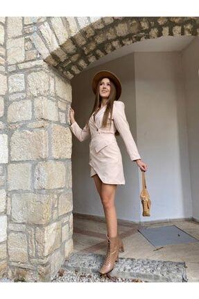 PAİ BUTİK Kadın Ceket Yakalı Asimetrik Etek Ceket Takım 1