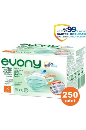 Evony 3 Katlı Filtreli Burun Telli Cerrahi Maske 250 Li Set (yumuşak Elastik Kulaklı) 1