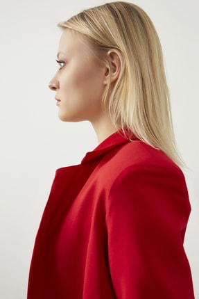 ELBİSENN Kadın Kırmızı Atlas Kumaş Blazer Ceket Pantolon İkili Takım 3