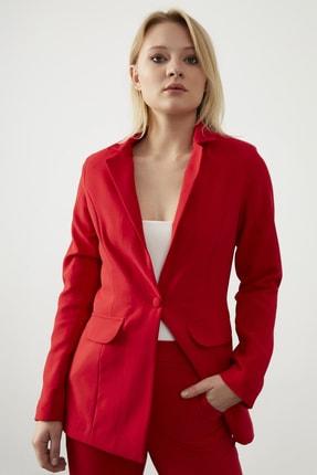 ELBİSENN Kadın Kırmızı Atlas Kumaş Blazer Ceket Pantolon İkili Takım 4