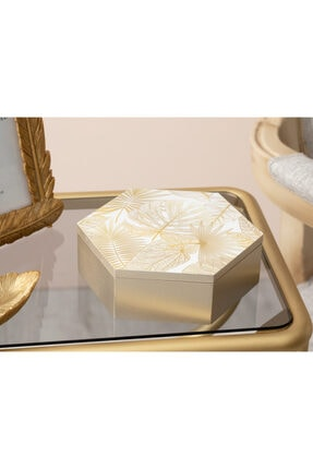English Home Linear Leaf Mdf Dekoratif Kutu 15x17x5,5 Cm Krem 1
