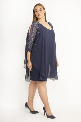 Şans Kadın Lacivert Şifon Pelerinli Taş Detaylı Abiye Elbise 65N19790 1
