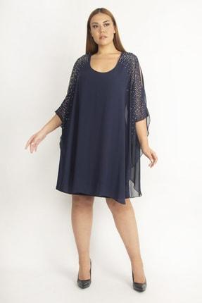 Şans Kadın Lacivert Şifon Pelerinli Taş Detaylı Abiye Elbise 65N19790 4