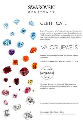 Valori Jewels 0.56 Karat Swarovski Zirkon Taşlı, Rose Gümüş Tektaş J Küpe 2