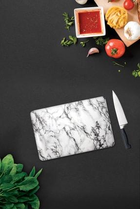 Decorita Beyaz Mermer Görünümlü | Cam Kesme Tahtası | 20cm X 30cm 0