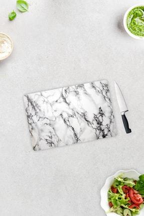 Decorita Beyaz Mermer Görünümlü | Cam Kesme Tahtası | 20cm X 30cm 1
