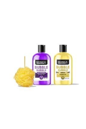 MONİCATİME Bubble Bubble Lavanta Özlü Duş Jeli + Vanilya Özlü Duş Jeli + Banyo Lifi 30 Gr 0