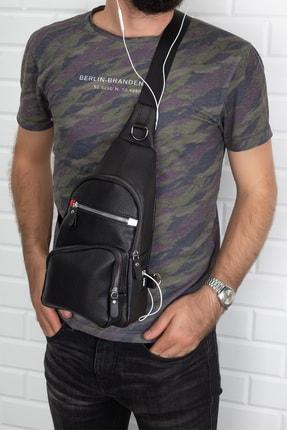 Leyl Erkek Siyah Göğüs Çantası Kulaklık Ve Şarj Çıkışlı Tek Kol Çarpraz Sırt Çanta Suni Deri Bodybag 0