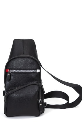 Leyl Erkek Siyah Göğüs Çantası Kulaklık Ve Şarj Çıkışlı Tek Kol Çarpraz Sırt Çanta Suni Deri Bodybag 1
