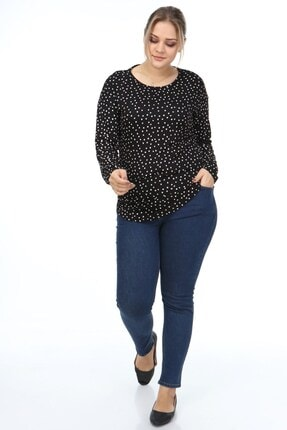 Womenice Kadın Siyah Puantiye Baskıl�� Büyük Beden Bluz 3