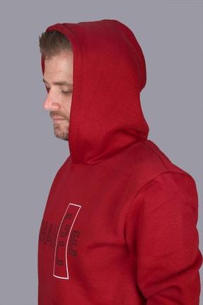 Click To Craft Erkek  Bordo Oversize Kapüşonlu Yazı Baskılı Sweatshirt 2