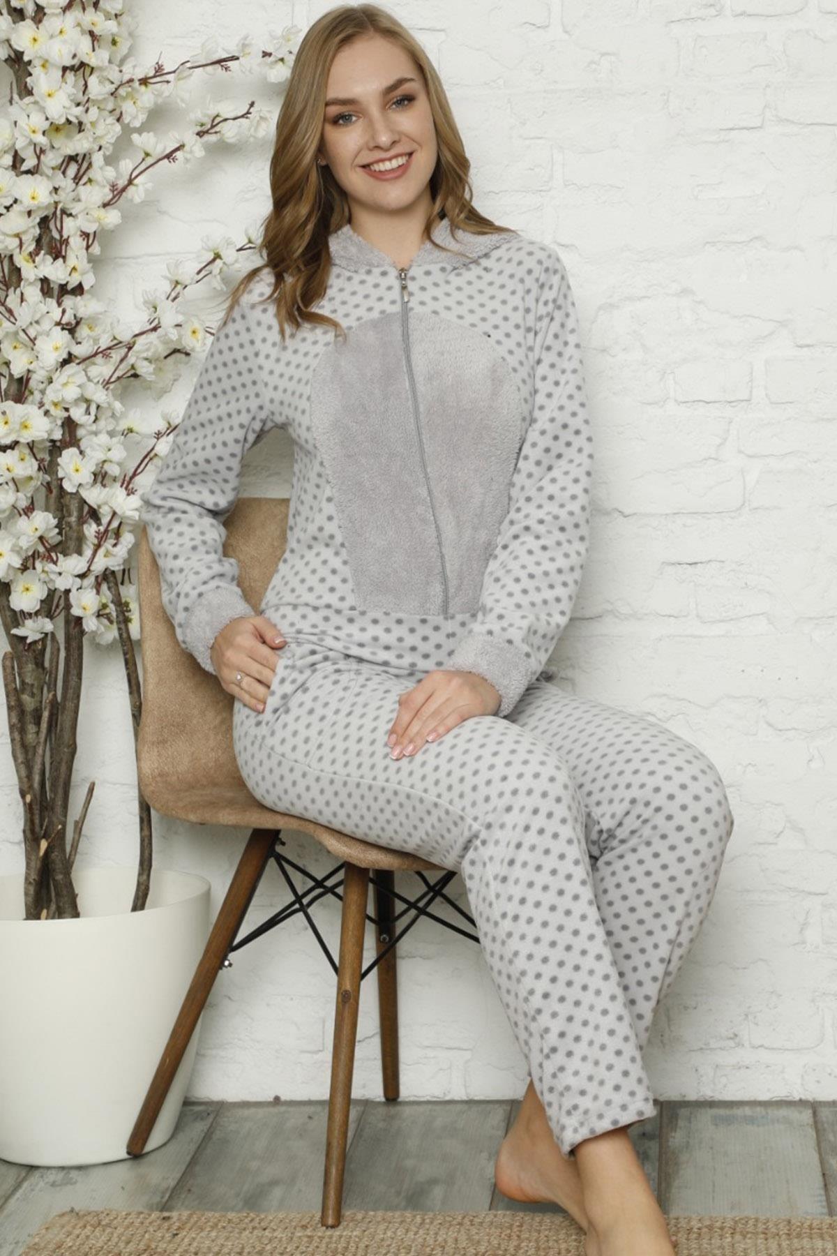 Pijamaevi Kadın Gri Mini Puan Desenli Kadın Polar Peluş Tulum Pijama 0