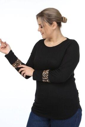 Womenice Kadın Siyah Kol Ucu Leoparlı Büyük Beden Bluz 1