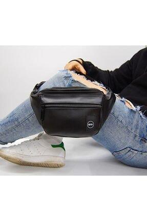 Moda West Unisex Siyah Suni Deri Bel Ve Omuz Çantası 1