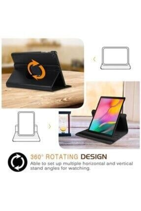 "E TicaShop Samsung Galaxy Tab A Sm T290 / T297 8"" Siyah 360 Derece Standlı Tablet Kılıfı Set 2"