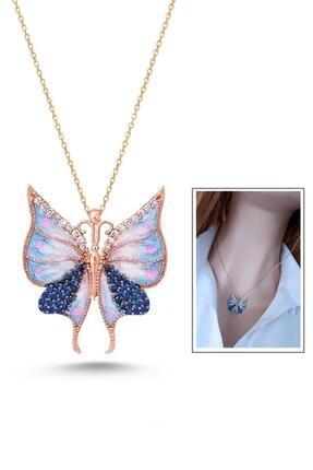 Rams Gümüş Kadın Mavi Kelebek Etkisi Kolye RGK30418 0