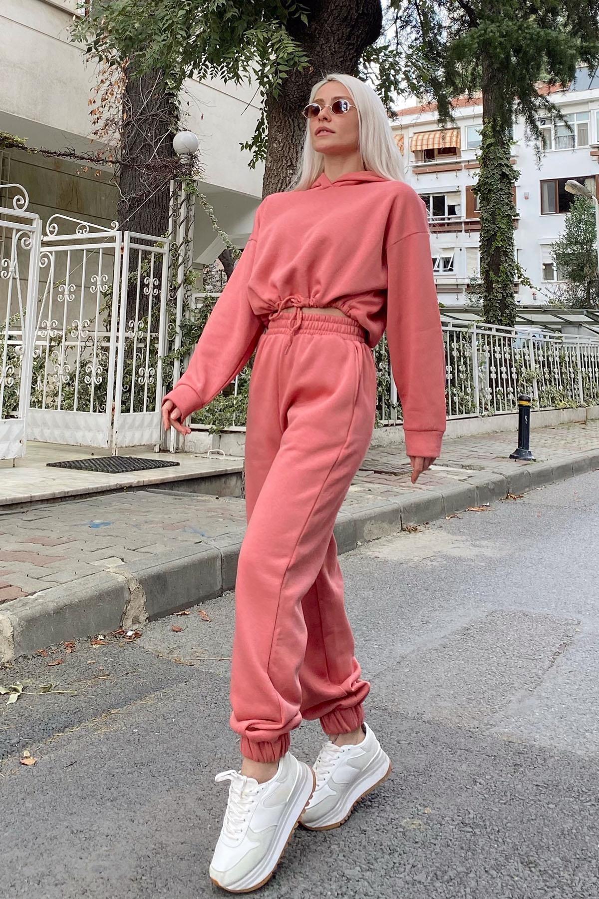 SwistLuxury Kadın Pembe Kapüşonlu İçi Pamuklu 3 İplik Eşofman Takımı 40011 0