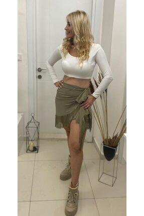 Simoki moda Kadın Haki Püsküllü Mini Etek 0