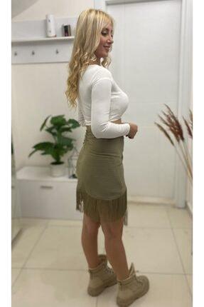 Simoki moda Kadın Haki Püsküllü Mini Etek 1