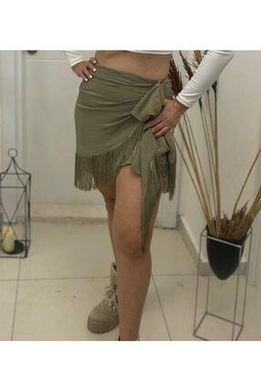 Simoki moda Kadın Haki Püsküllü Mini Etek 2