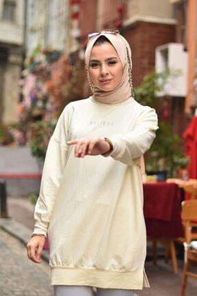 Loreen Kadın Krem Believe Baskılı Basic Tunik 3