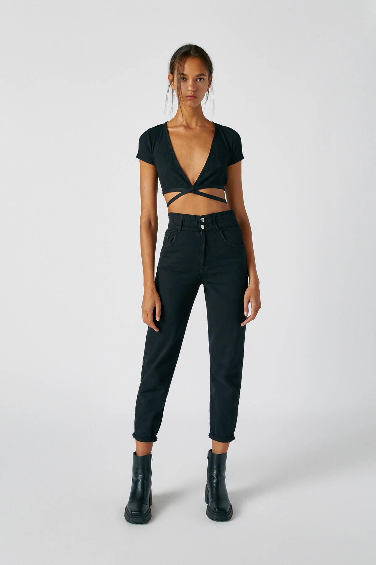 Pull & Bear Kadın Siyah Geniş Elastik Belli Slouchy Jean 05670342 0