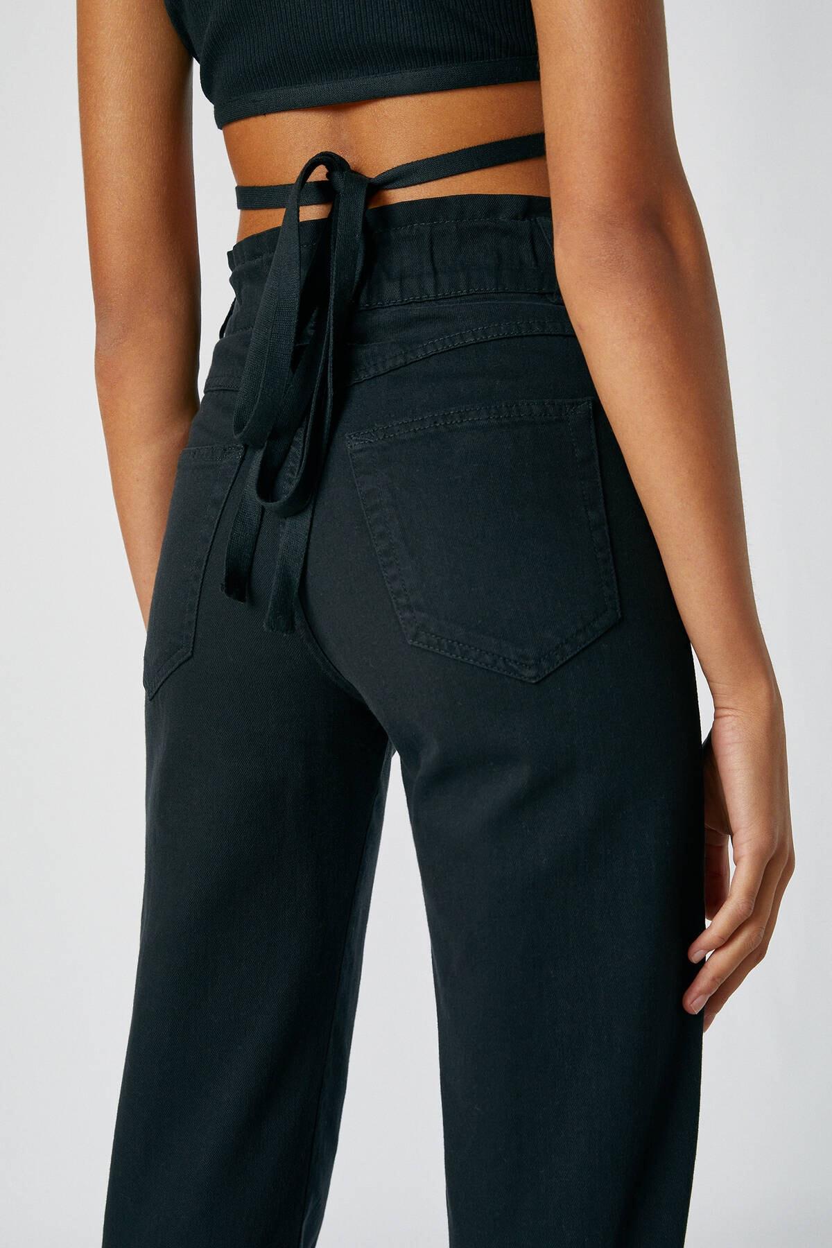 Pull & Bear Kadın Siyah Geniş Elastik Belli Slouchy Jean 05670342 2