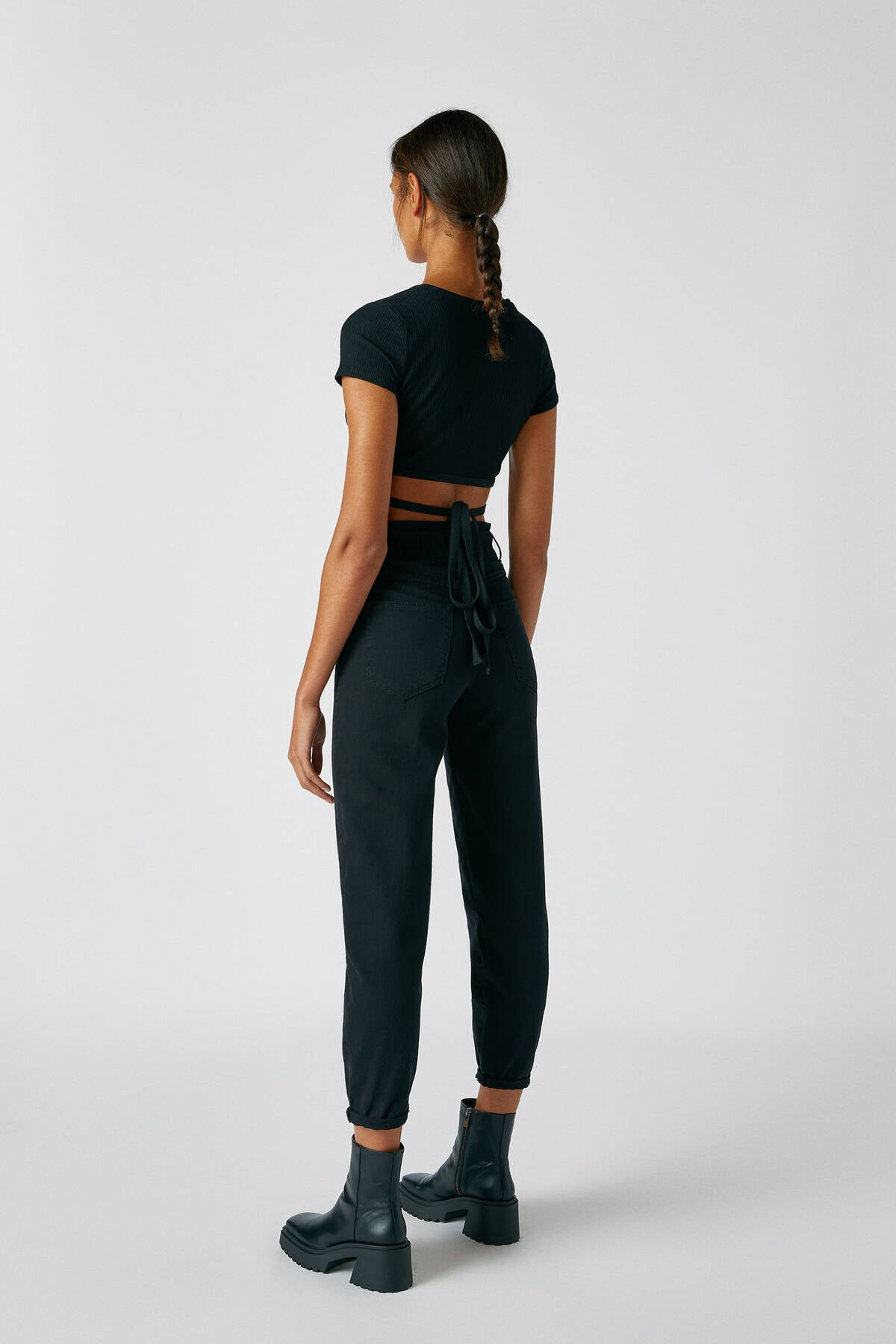 Pull & Bear Kadın Siyah Geniş Elastik Belli Slouchy Jean 05670342 3