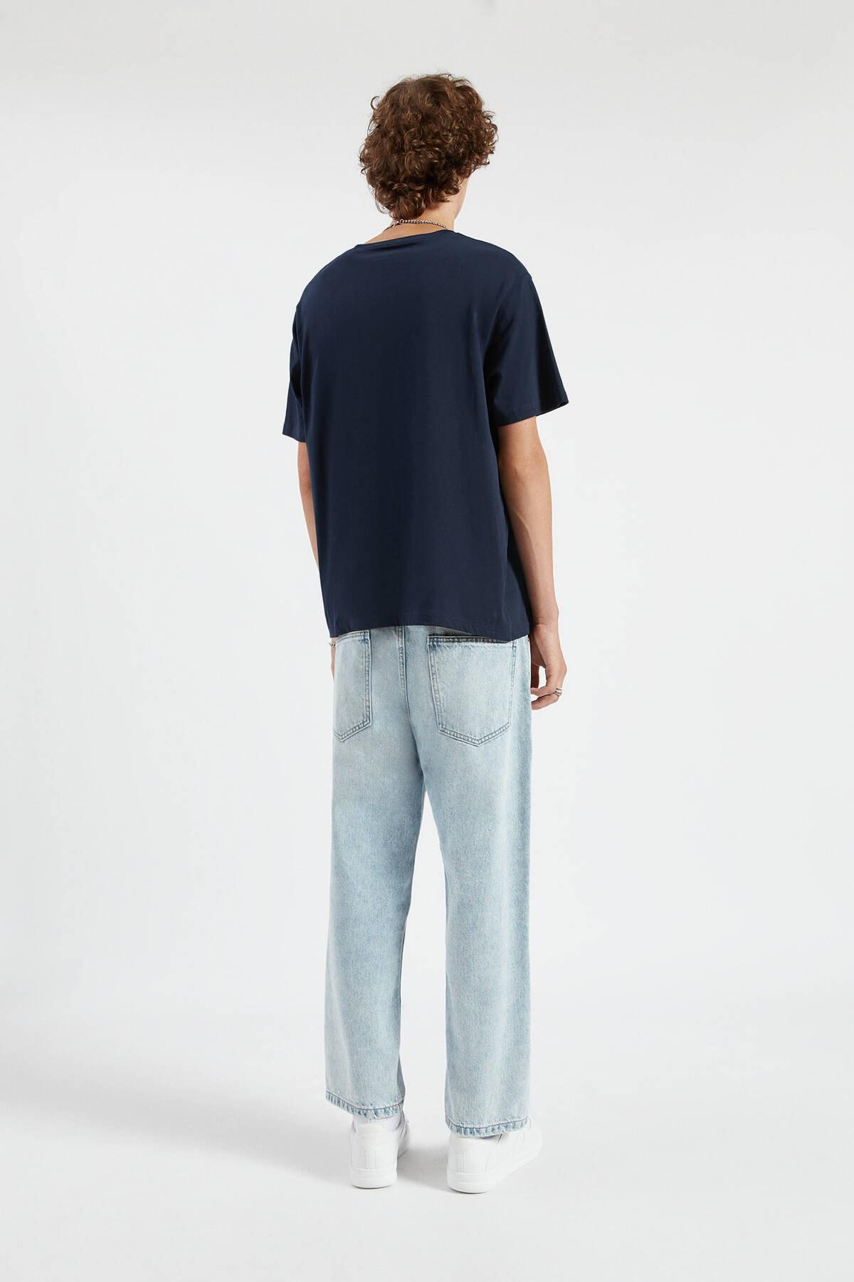Pull & Bear Erkek Lacivert Join Life Basic T-Shirt 09244500 3