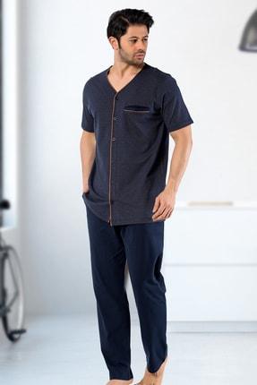 IBIZA Erkek Lacivert Jakar Kumaş Düğmeli Pijama Takım 0