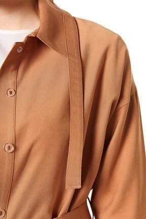 Nihan Kadın Kısa Pardesü Camel B4061 4